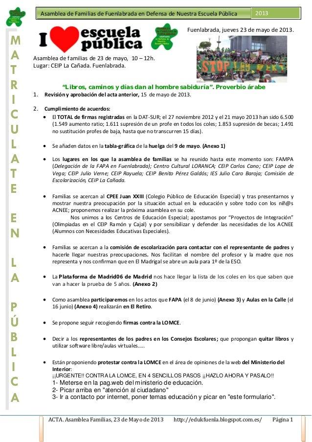 ACTA. Asamblea Familias, 23 de Mayo de 2013 http://edukfuenla.blogspot.com.es/ Página 1Asamblea de Familias de Fuenlabrada...