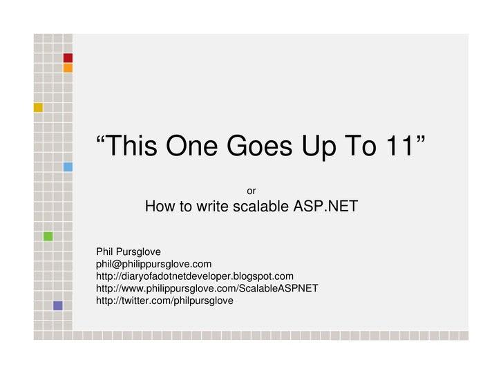 ASP.NET Scalability - VBUG London