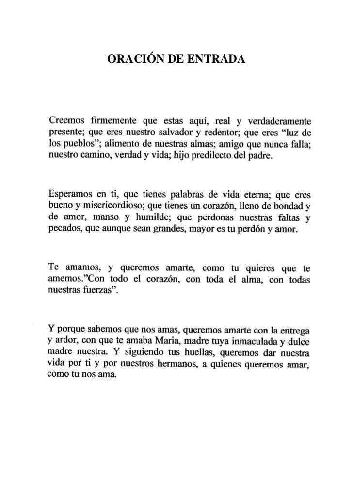 ORACIÓN DE ENTRADA