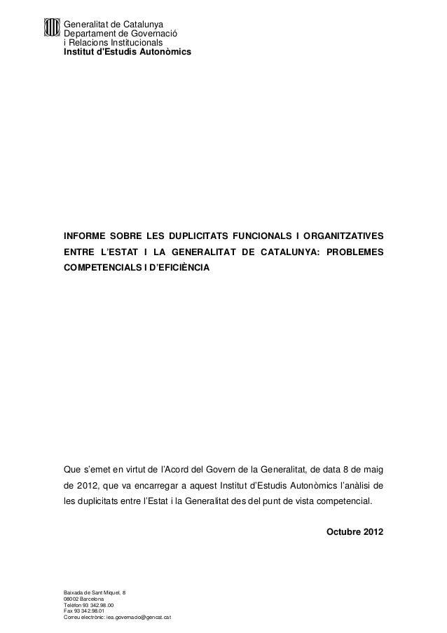 Informe sobre les duplicitats funcionals i organitzatives entre l'estat i la Generalitat de Catalunya