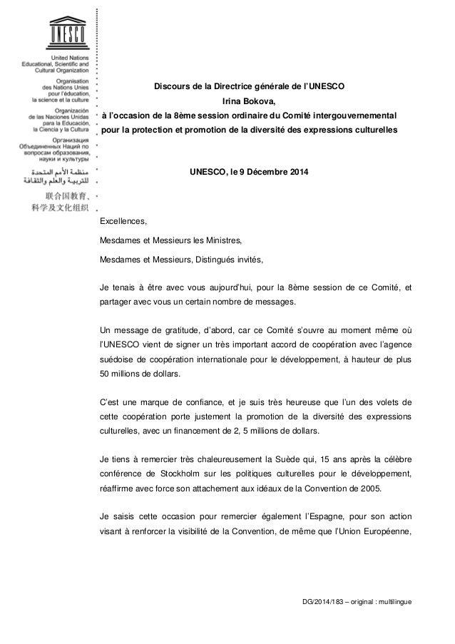 Discours de la Directrice générale de l'UNESCO Irina Bokova, à l'occasion de la 8ème session ordinaire du Comité intergouv...