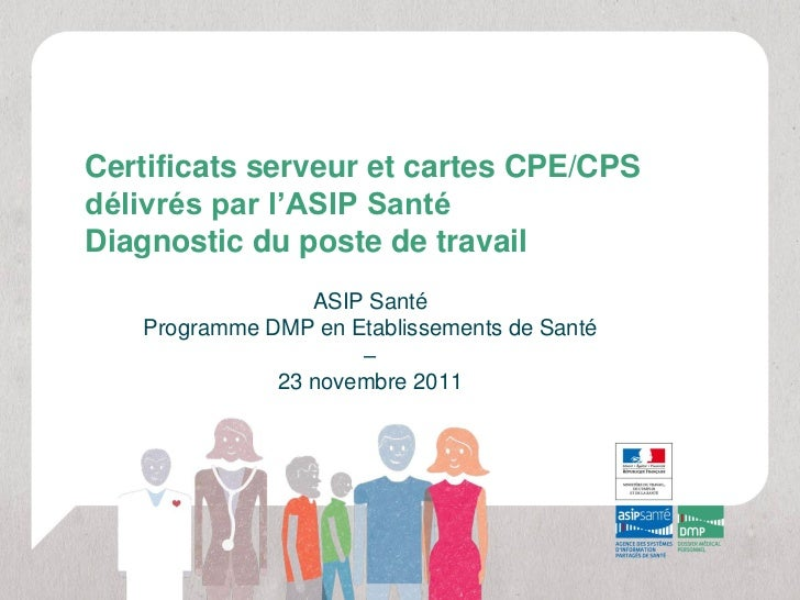 Certificats serveur et cartes CPE/CPSdélivrés par l'ASIP SantéDiagnostic du poste de travail                 ASIP Santé   ...