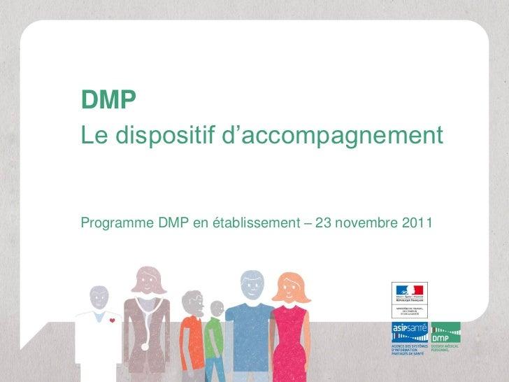 DMPLe dispositif d'accompagnementProgramme DMP en établissement – 23 novembre 2011