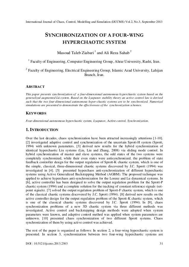 International Journal of Chaos, Control, Modelling and Simulation (IJCCMS) Vol.2, No.3, September 2013 DOI : 10.5121/ijccm...