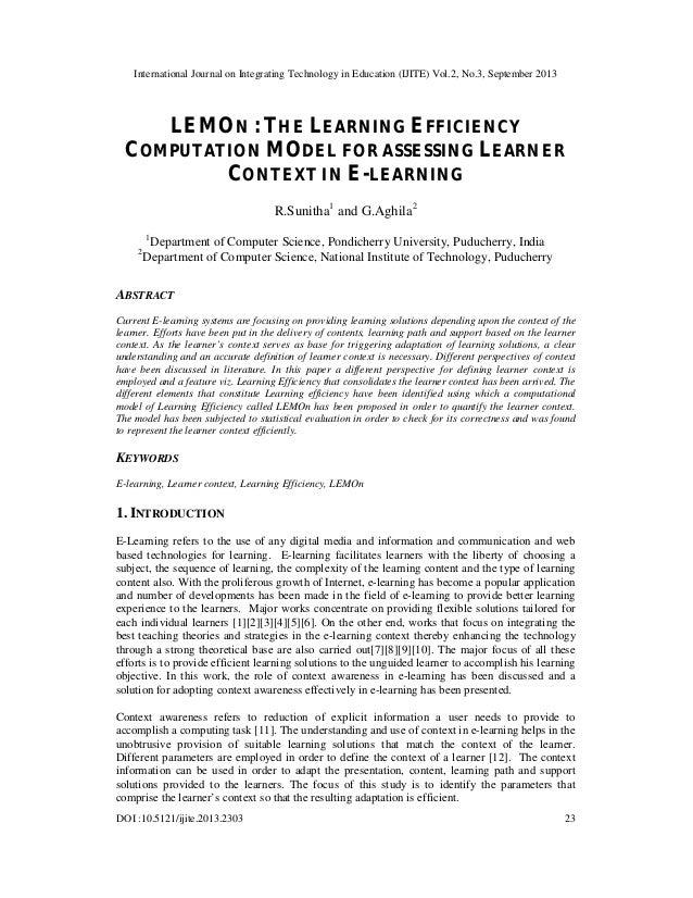 LEMON : THE LEARNING EFFICIENCY COMPUTATION MODEL FOR ASSESSING LEARNER CONTEXT IN E-LEARNING