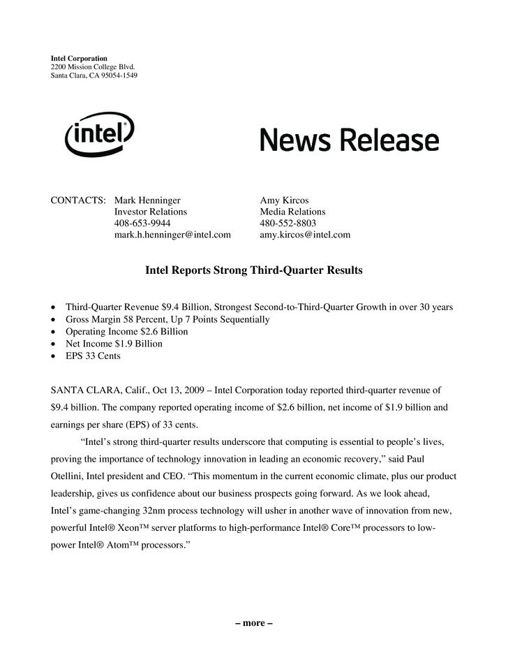 Intel Corporation 2200 Mission College Blvd. Santa Clara, CA 95054-1549     CONTACTS: Mark Henninger                      ...