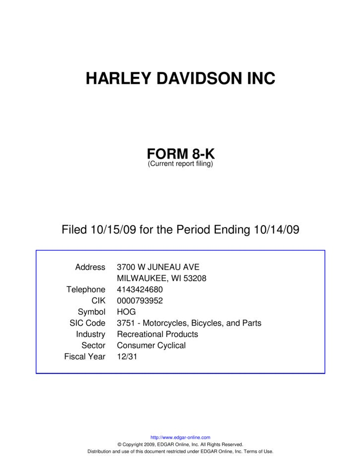 HARLEY DAVIDSON INC                                     FORM 8-K                                  (Current report filing) ...