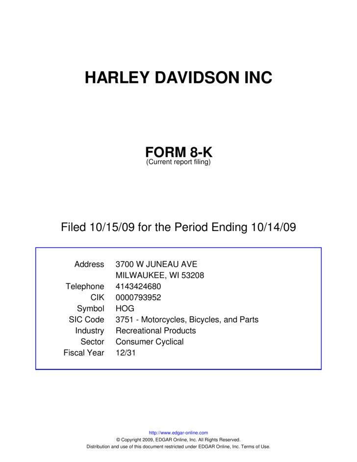 Q3 2009 Earning Report of Harley-Davidson, Inc.