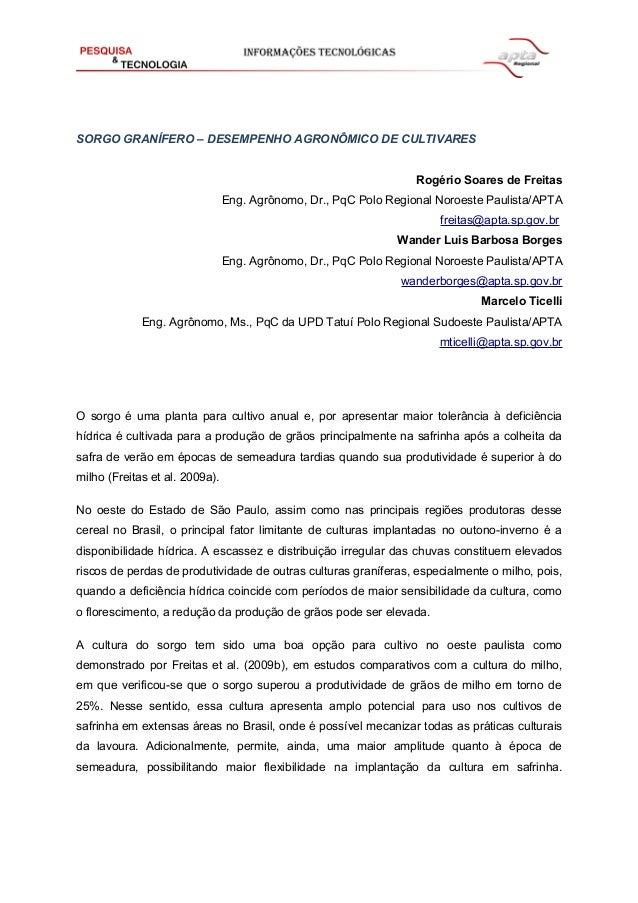 SORGO GRANÍFERO – DESEMPENHO AGRONÔMICO DE CULTIVARES Rogério Soares de Freitas Eng. Agrônomo, Dr., PqC Polo Regional Noro...