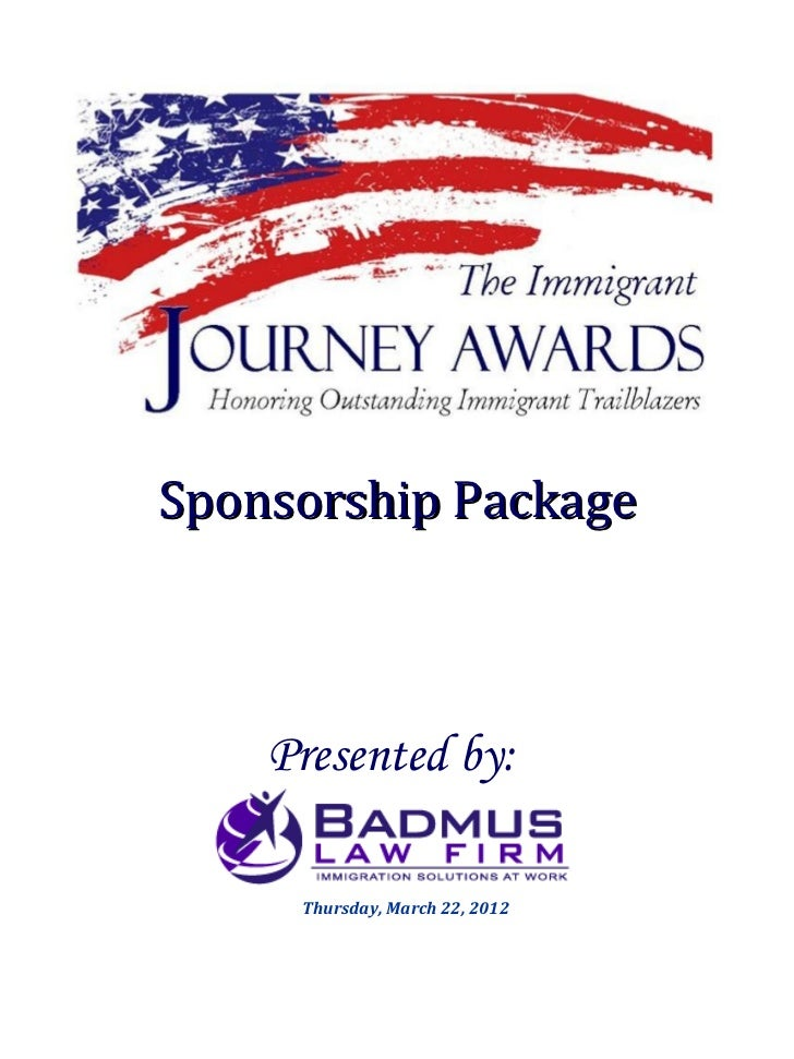 2nd Annual Immigrant Journey Awards Sponsorship Package