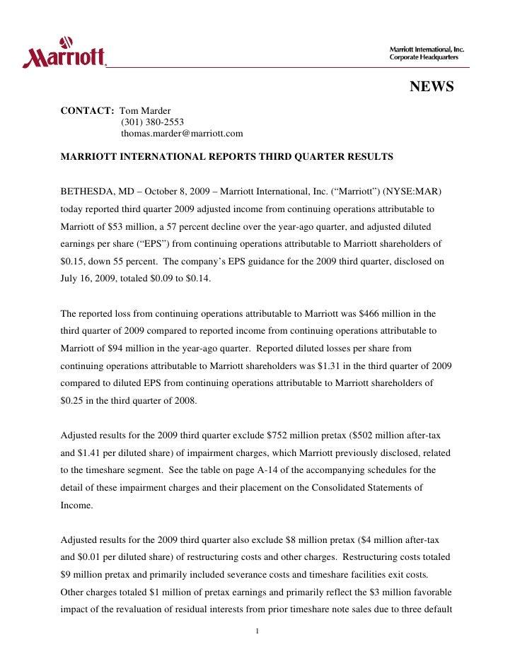 NEWS CONTACT: Tom Marder          (301) 380-2553          thomas.marder@marriott.com  MARRIOTT INTERNATIONAL REPORTS THIRD...