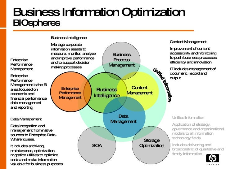Business Information Optimization BIOspheres Unified Information  Application of strategy, governance and organizational m...