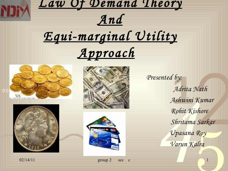 Law Of Demand Theory And Equi-marginal Utility Approach   Presented by: Adrita Nath Ashwini Kumar Rohit Kishore Shritama S...