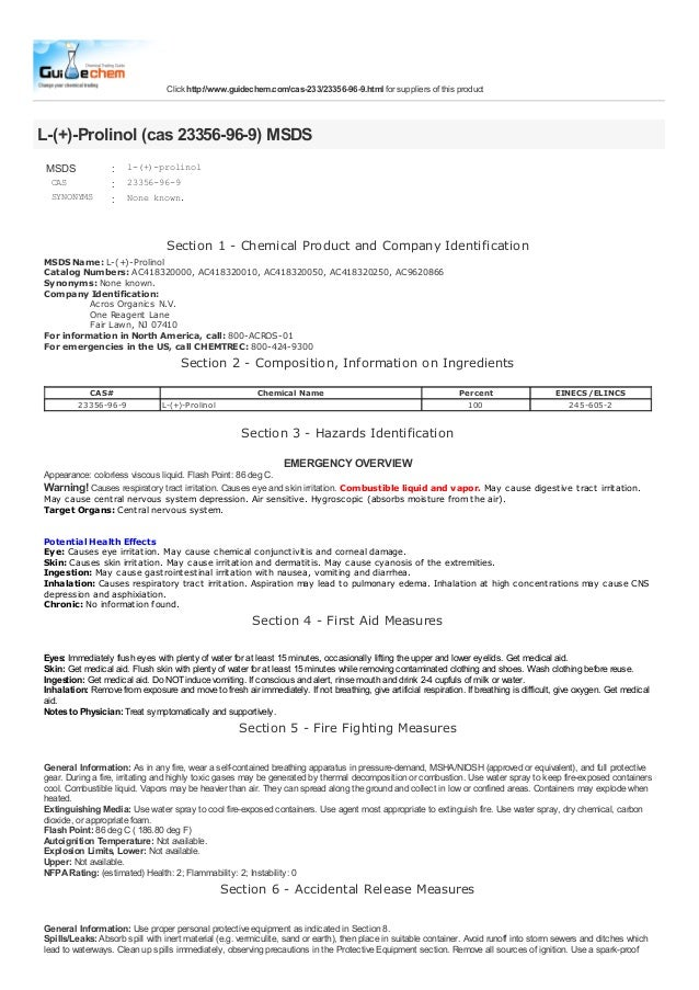 Click http://www.guidechem.com/cas-233/23356-96-9.html for suppliers of this productL-(+)-Prolinol (cas 23356-96-9) MSDS M...
