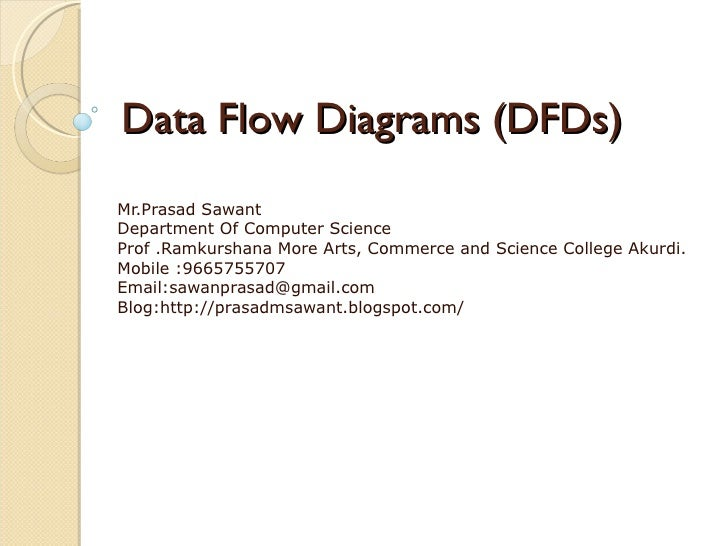 Data Flow Diagrams (DFDs) Mr.Prasad Sawant Department Of Computer Science Prof .Ramkurshana More Arts, Commerce and Scienc...