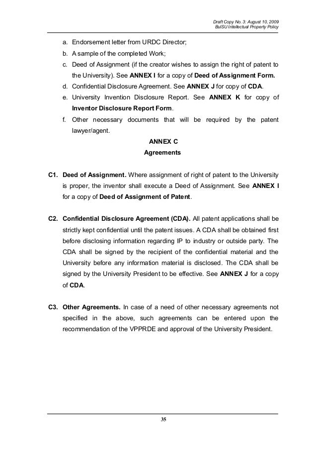 Deed of assignment of life policy