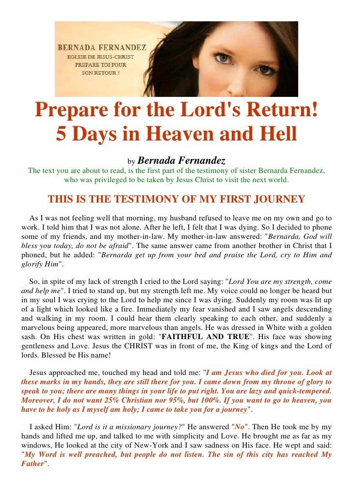 Prepare for the Lord's Return!       5 Days in Heaven and Hell                                   by Bernada Fernandez   Th...
