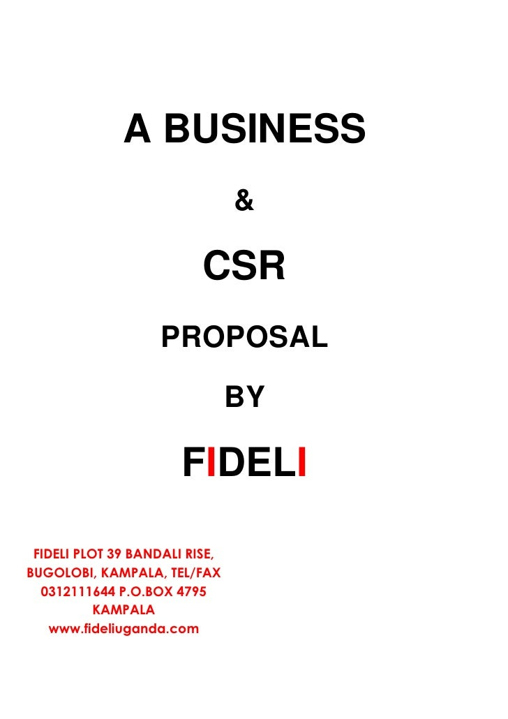 A BUSINESS                                 &                            CSR                     PROPOSAL                  ...