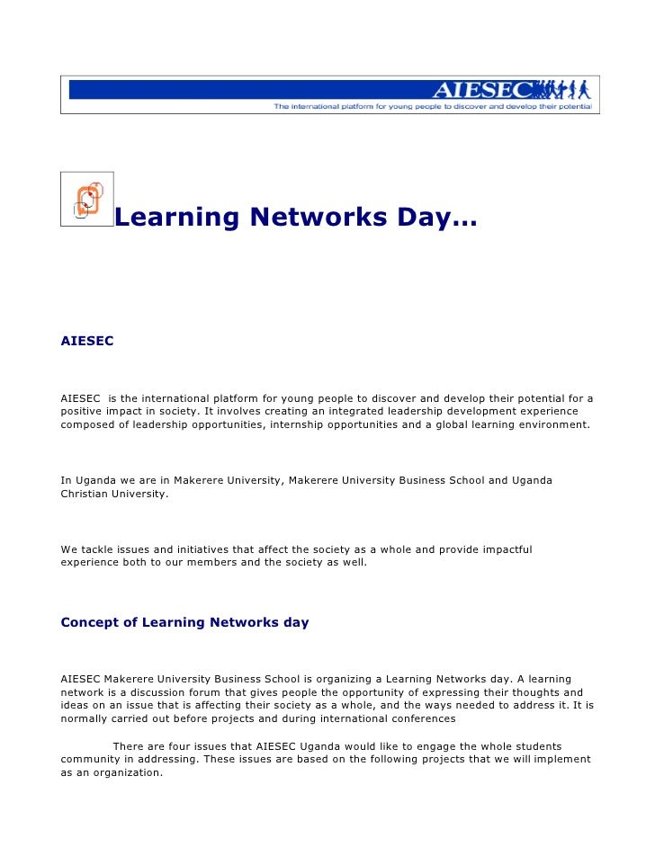 Learning Networks Day…    AIESEC    AIESEC is the international platform for young people to discover and develop their po...
