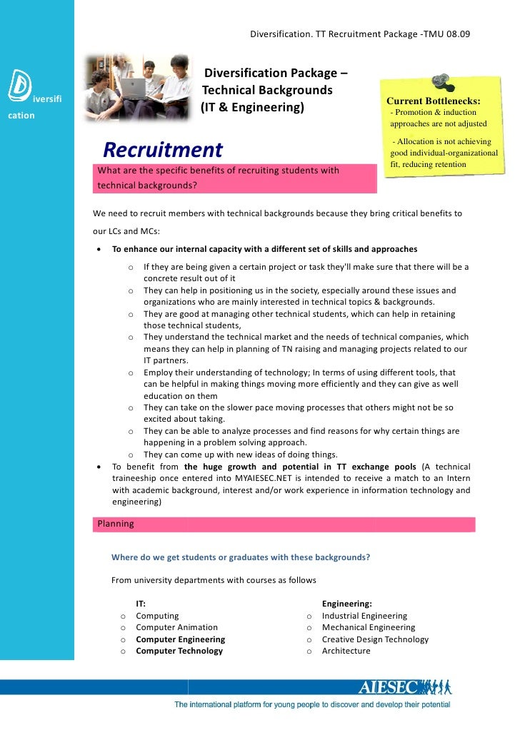 Diversification. TT Recruitment Package -TMU 08.09                                                Diversification Package ...
