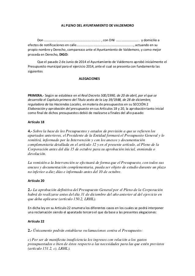 Alegaciones a los presupuestos municipales 2014 Ayto Valdemoro presentadas por la PACDValdemoro