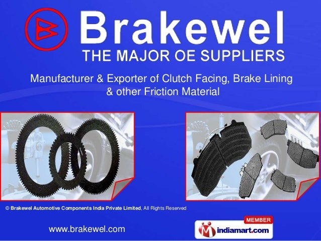 Materials Used In Clutch Linings : Auto brake shoe by brakewel automotive components india
