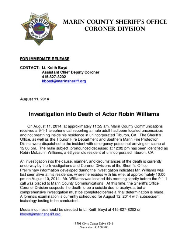 Actor Robin Williams' Death: Police Press Release