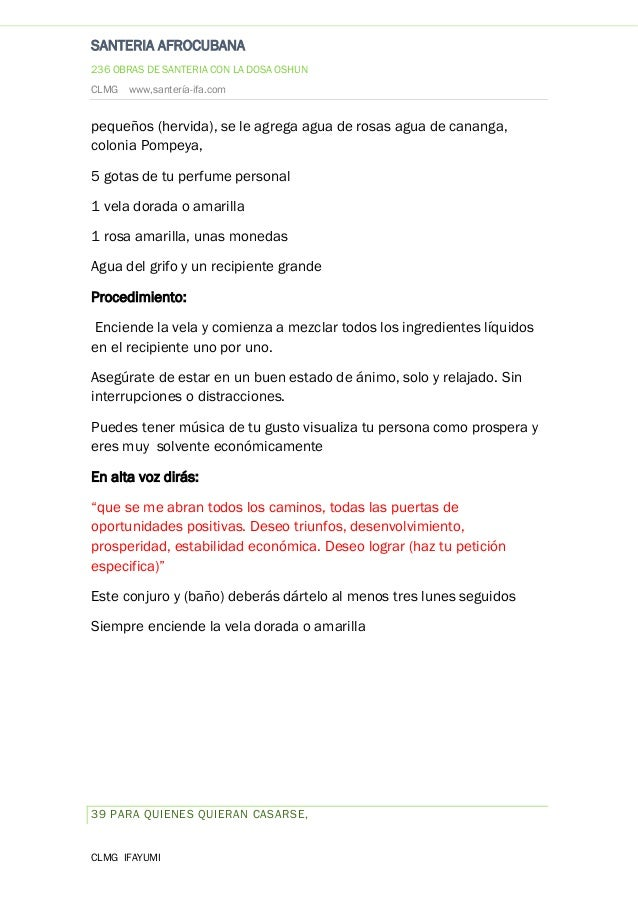Baño Blanco Santeria:santeria afrocubana 236 obras de santeria con la dosa oshun