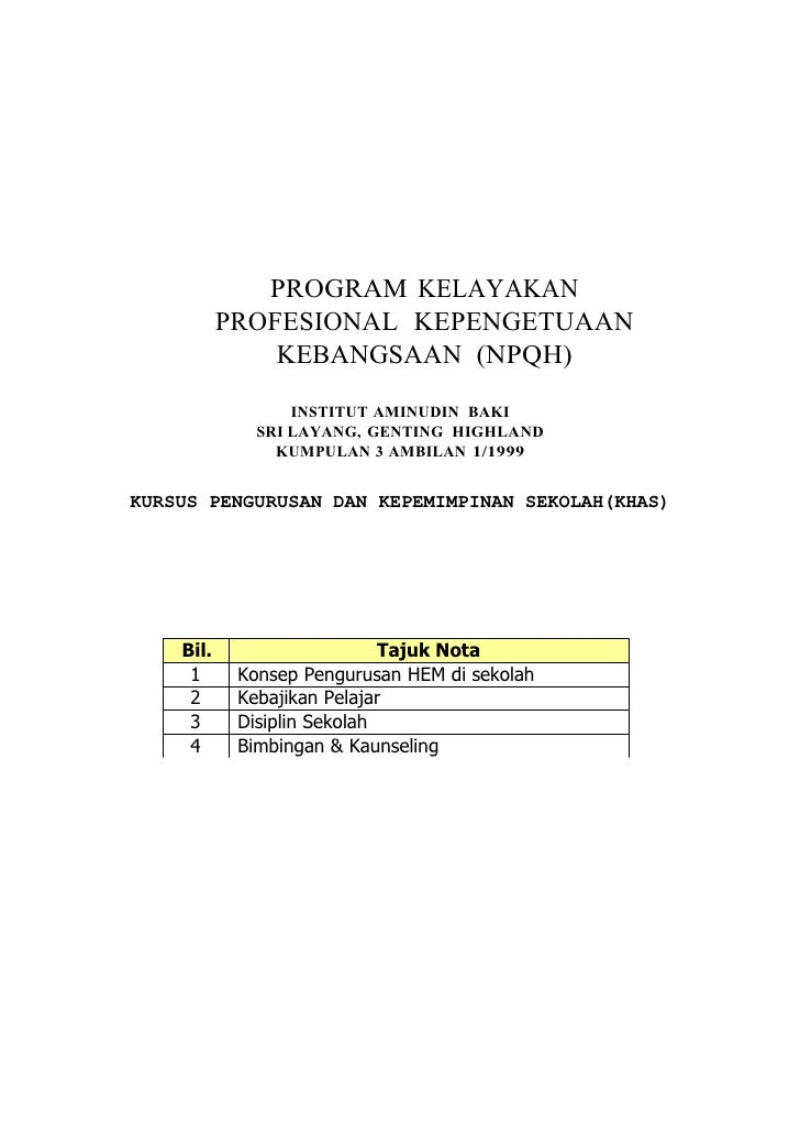 PROGRAM KELAYAKAN            PROFESIONAL KEPENGETUAAN                KEBANGSAAN (NPQH)                    INSTITUT AMINUDI...