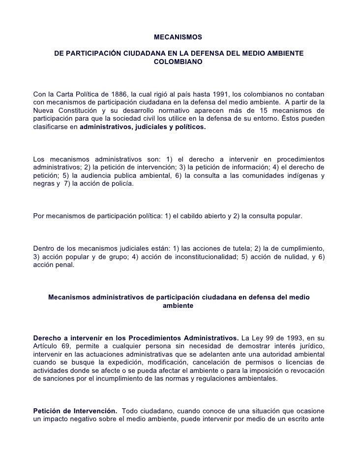 MECANISMOS        DE PARTICIPACIÓN CIUDADANA EN LA DEFENSA DEL MEDIO AMBIENTE                               COLOMBIANO    ...
