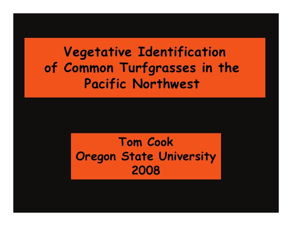 Vegetative Identification of Common Turfgrasses in the       Pacific Northwest              Tom Cook     Oregon State Univ...