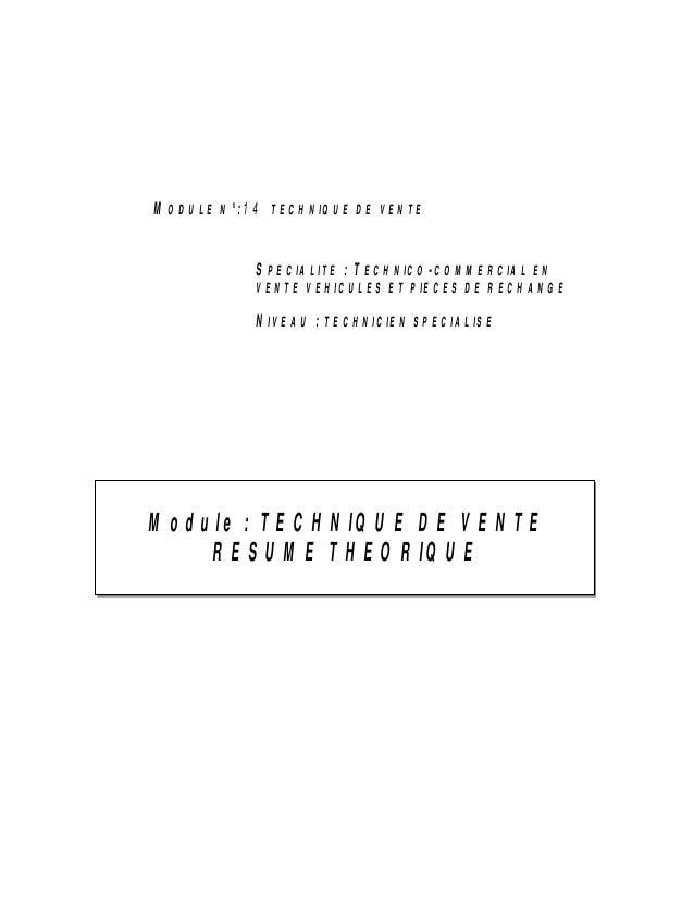 SPECIALITE : TECHNICO-COMMERCIAL EN VENTE VEHICULES ET PIECES DE RECHANGE NIVEAU : TECHNICIEN SPECIALISE Module : TECHNIQU...