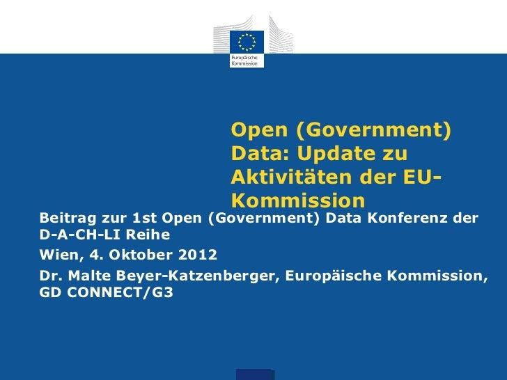 Open (Government)                      Data: Update zu                      Aktivitäten der EU-                      Kommi...
