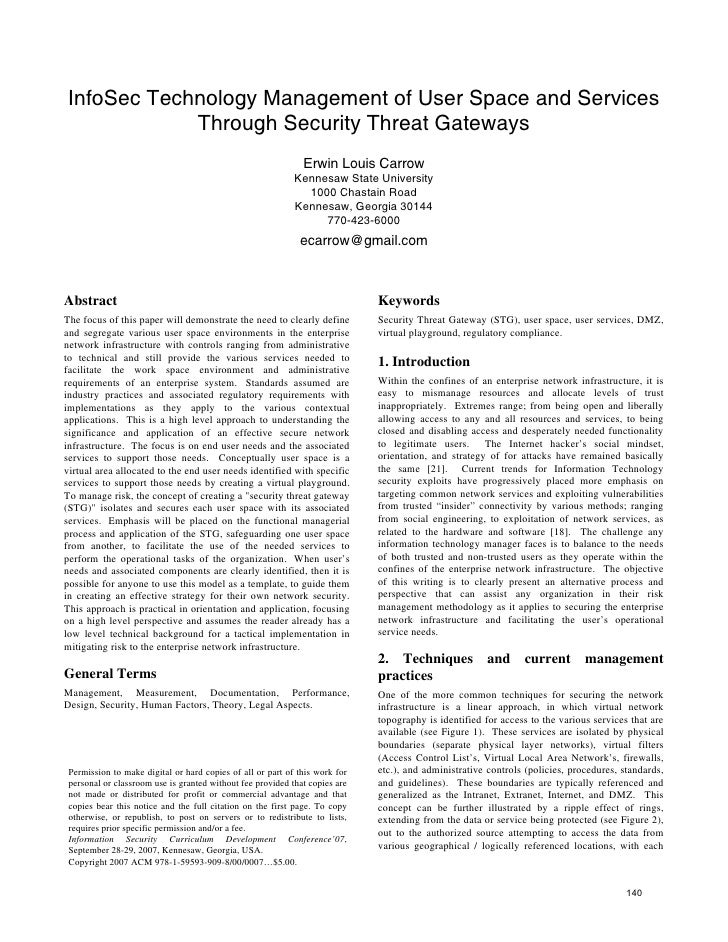 InfoSec Technology Management of User Space and Services Through Security Threat Gateways