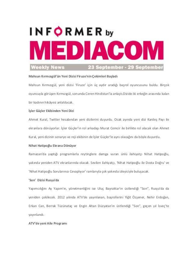 23 - 29 Eylül Medya Haberleri