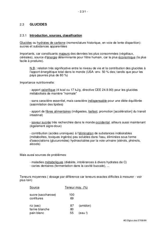 - 2.3/1 -2.3    GLUCIDES2.3.1 Introduction, sources, classificationGlucides ou hydrates de carbone (nomenclature historiqu...