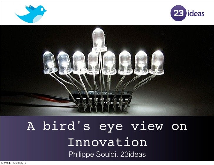 A bird's eye view on                             Innovation                             Philippe Souidi, 23ideas Montag, 1...