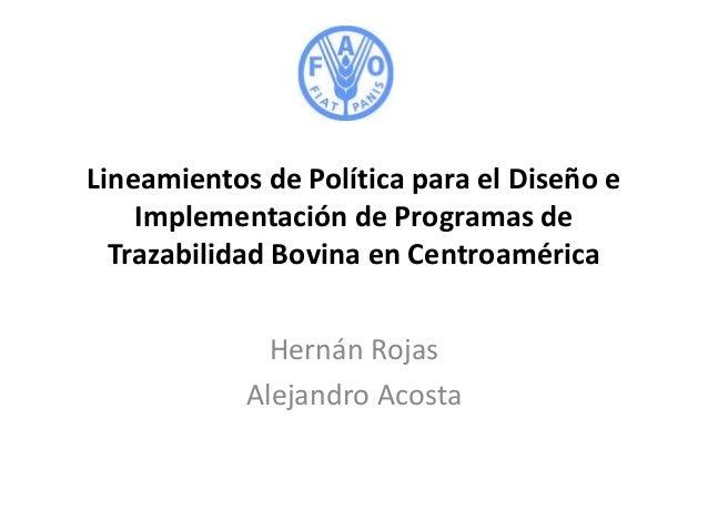 23  lineamientos de política para el diseño e implementación de programas de trazabilidad bovina en centroamérica   hernán rojas