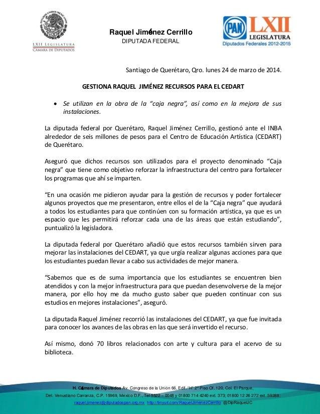 23 mar 2014 Gestiona Raquel Jiménez recurso para cedart