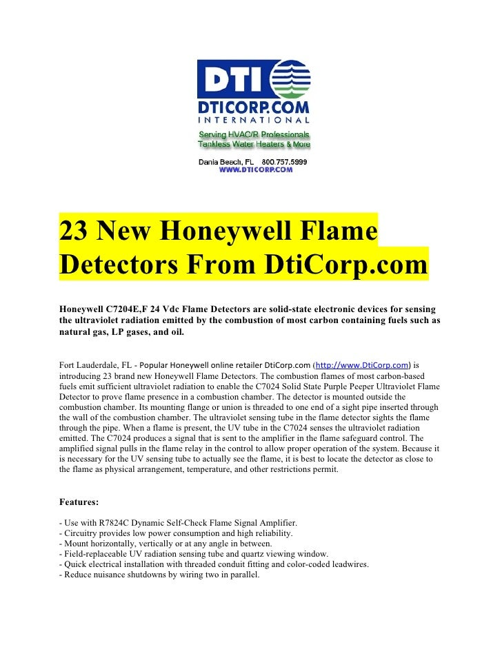 23 New Honeywell FlameDetectors From DtiCorp.comHoneywell C7204E,F 24 Vdc Flame Detectors are solid-state electronic devic...