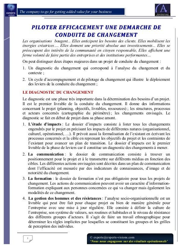 PILOTER EFFICACEMENT UNE DEMARCHE DE CONDUITE DE CHANGEMENT