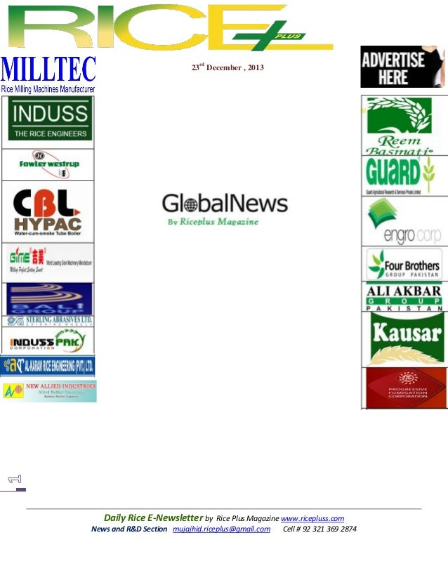 23rd december,2013 daily global rice e newsletter by riceplus magazine