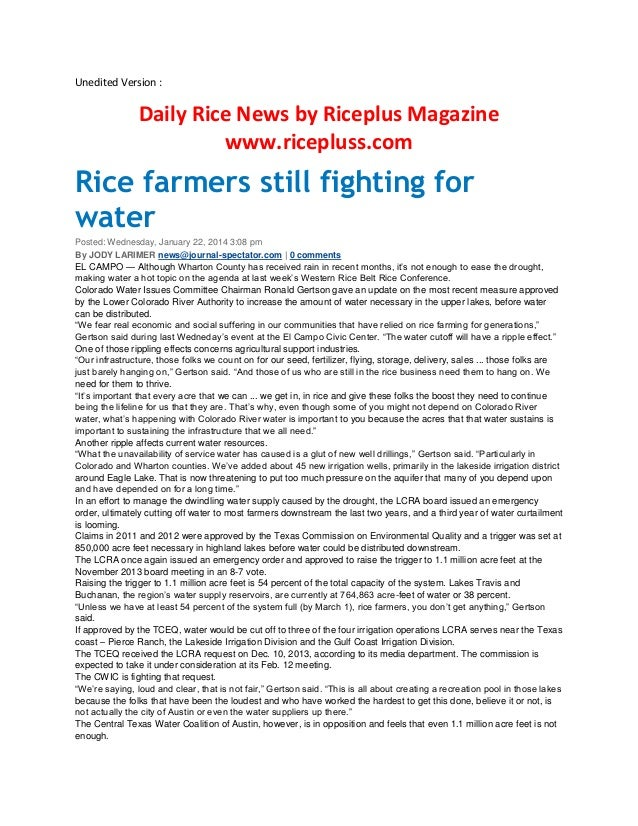 Unedited Version :  Daily Rice News by Riceplus Magazine www.ricepluss.com  Rice farmers still fighting for water Posted: ...