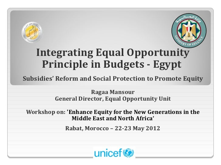 Integrating Equal Opportunity     Principle in Budgets - EgyptSubsidies' Reform and Social Protection to Promote Equity   ...