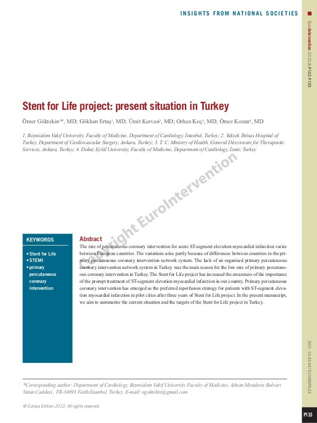 23 stent for life project present situation in turkey