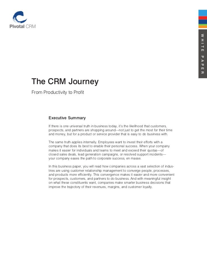 The crm journey from productivity to profit