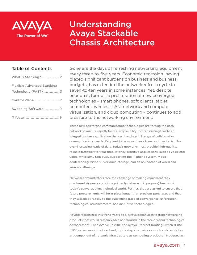 Understanding Avaya Stackable Chassis Architecture