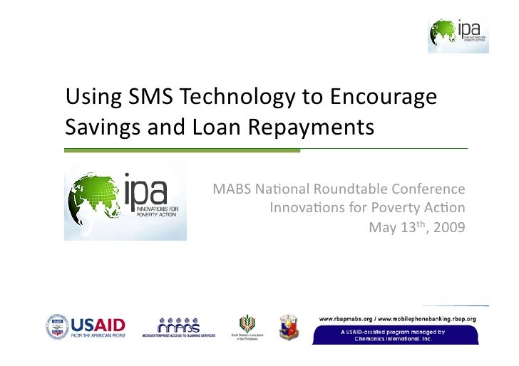 Using  S M S  Technology To  Encourage  Savings And  Loan