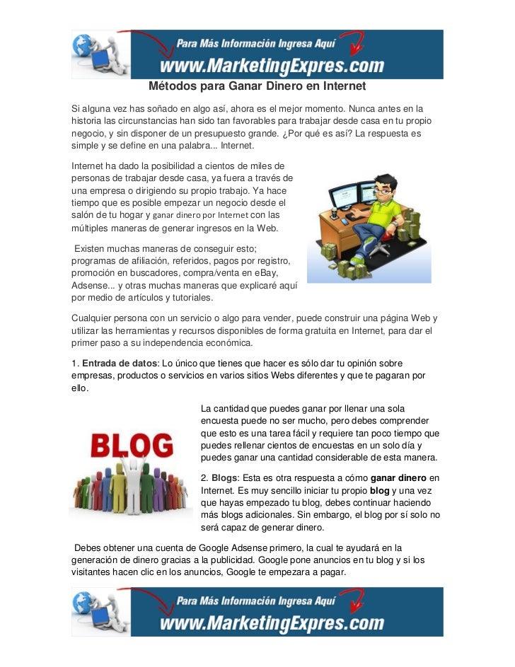 métodos para ganar dinero en internet