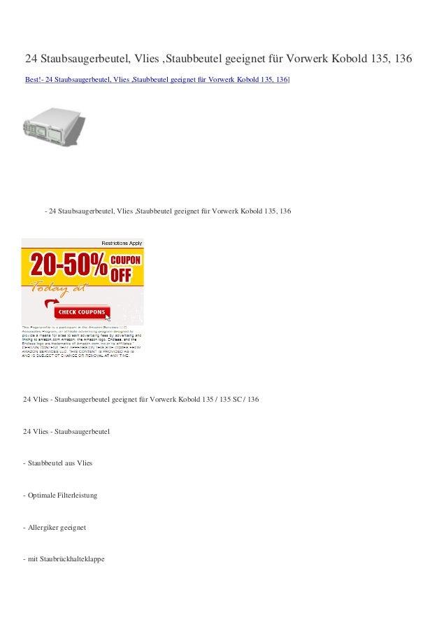24 Staubsaugerbeutel, Vlies ,Staubbeutel geeignet für Vorwerk Kobold 135, 136Best!- 24 Staubsaugerbeutel, Vlies ,Staubbeut...